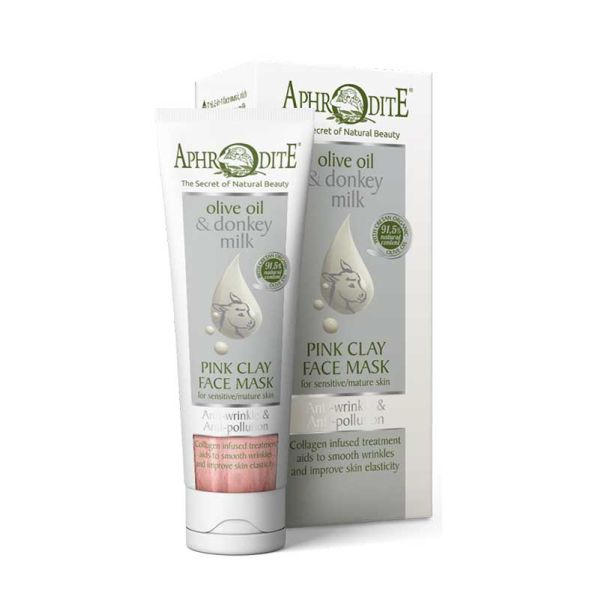 Face Care Aphrodite Olive Oil & Donkey Milk Anti-Wrinkle & Anti-Pollution Pink Clay Face Mask