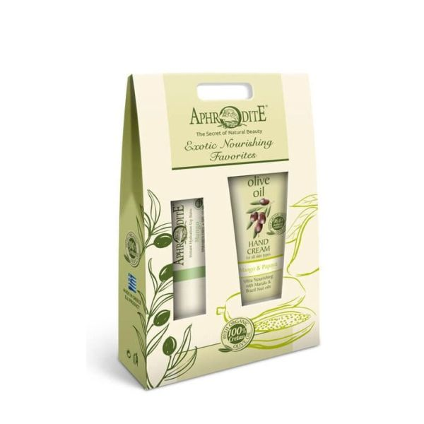 Hand & Foot Care Gift Sets Aphrodite Olive Oil Lip Balm & Hand Cream Mango