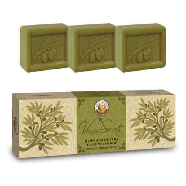 Regular Soap Venus Secrets Triple-Milled Soap Olive & Aloe Vera (3x100gr))