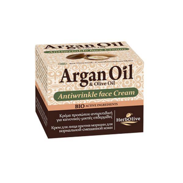 Αντιρυτιδική Κρέμα HerbOlive Αργκάν Κρέμα Προσώπου Αντιρυτιδική για Κανονικό-Μικτό Δέρμα