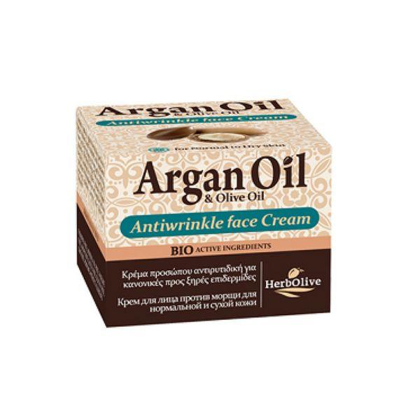 Αντιρυτιδική Κρέμα HerbOlive Αργκάν Κρέμα Προσώπου Αντιρυτιδική για Κανονικό – Ξηρό Δέρμα