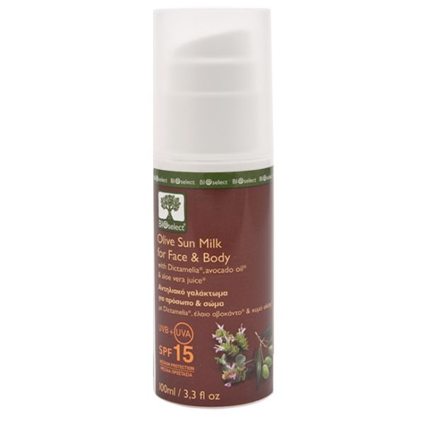 Sun Care BIOselect Olive Sun Milk for Face & Body / Medium Protection SPF 15