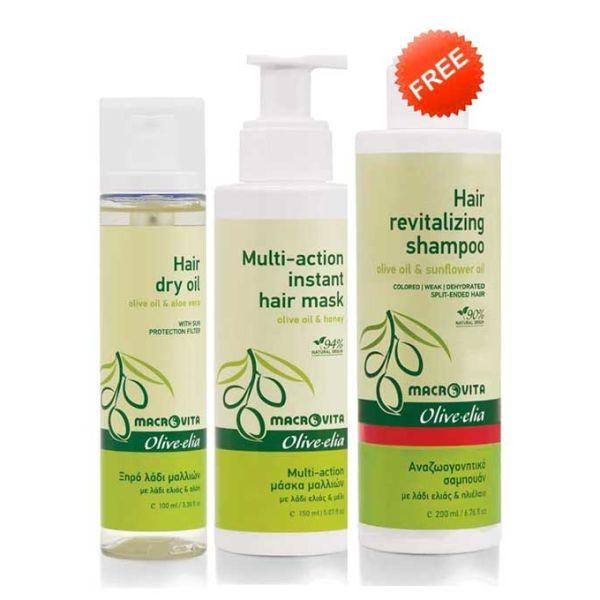 Hair Care Macrovita Olivelia Dry Hair Oil & Multi Hair Mask, FREE Revitalizing Shampoo (Full Size)