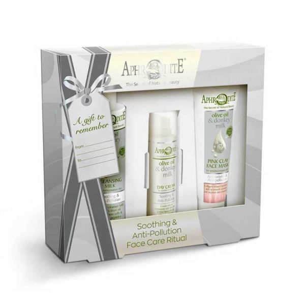 Cleansing Milk Aphrodite Donkey Milk Face Care Soothing & Antipollution Gift Set – Full Size