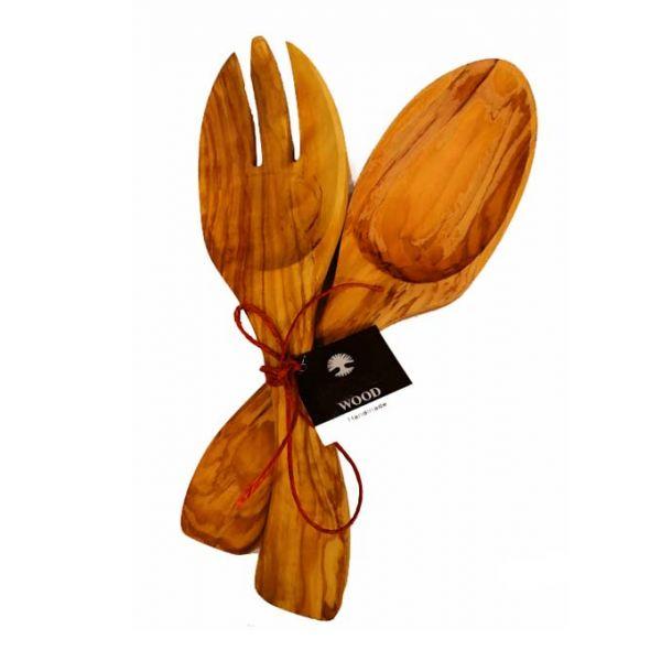 Αντικείμενα από Ξύλο Ελιάς Ξύλινο Σετ Σερβιρίσματος Σαλάτας  23cm – The Olive Tree