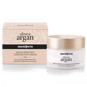 Anti-Wrinkle Cream Macrovita Olive & Argan Multi-effective 24hours Face Cream Normal & Combination Skin