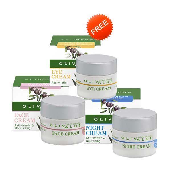 Anti-Wrinkle Cream Olivaloe Face Cream for Normal Skin & Night Cream, FREE Eye Cream